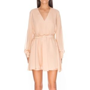 Keepsake XS Caramel High Chance Silk Dress Split